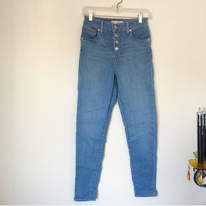 Levi's Mile High Super Skinny Blue Jeans w Buttons